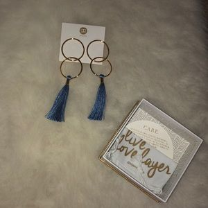 Gold and blue statement earrings